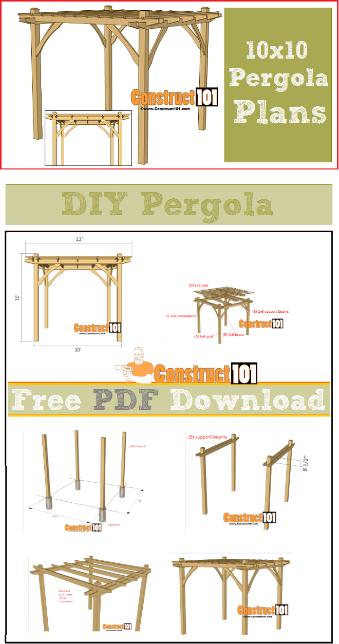Pergola plans - DIY 10x10 pergola, free PDF download. Plans include  step-by-step details, cutting list, and shopping list. More - 10x10 Pergola Plans - PDF Download Outdooors Pinterest Pergola