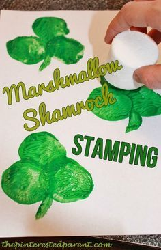 Shamrock marshmallow stamping other crafts for kids to celebrate St. Patrick's Day.