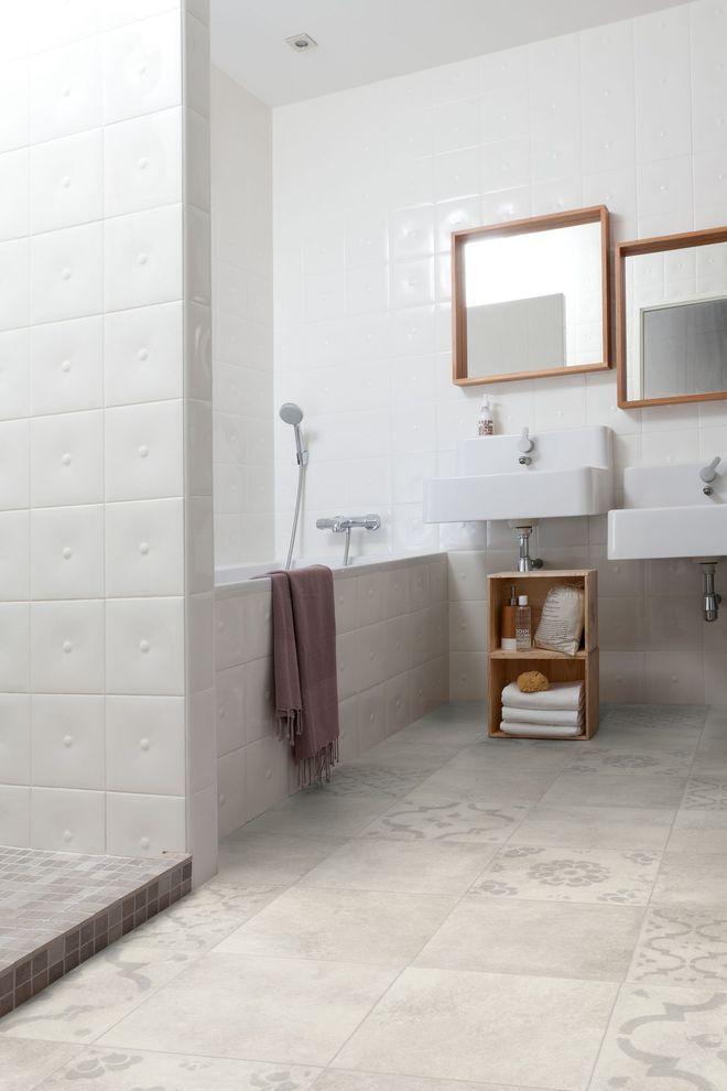 Vinyle imitation carreaux de ciment discret et chic salle de bain ba os aislamiento - Vinyle salle de bain ...