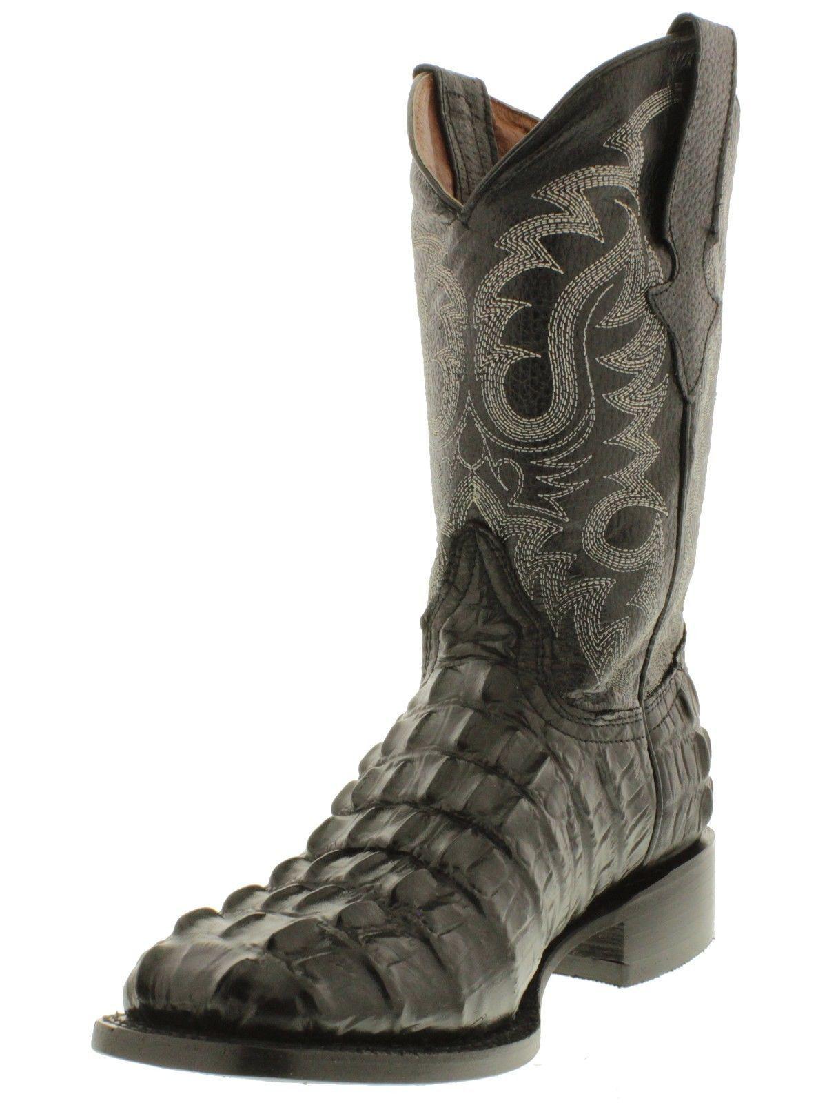 Men's Natural Full Crocodile Tail Print Cowboy Boots Round Toe