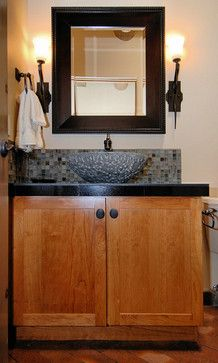 Bathroom Remodel Albuquerque Minimalist powder room with mosaic backsplash and vessel sink | bathroom