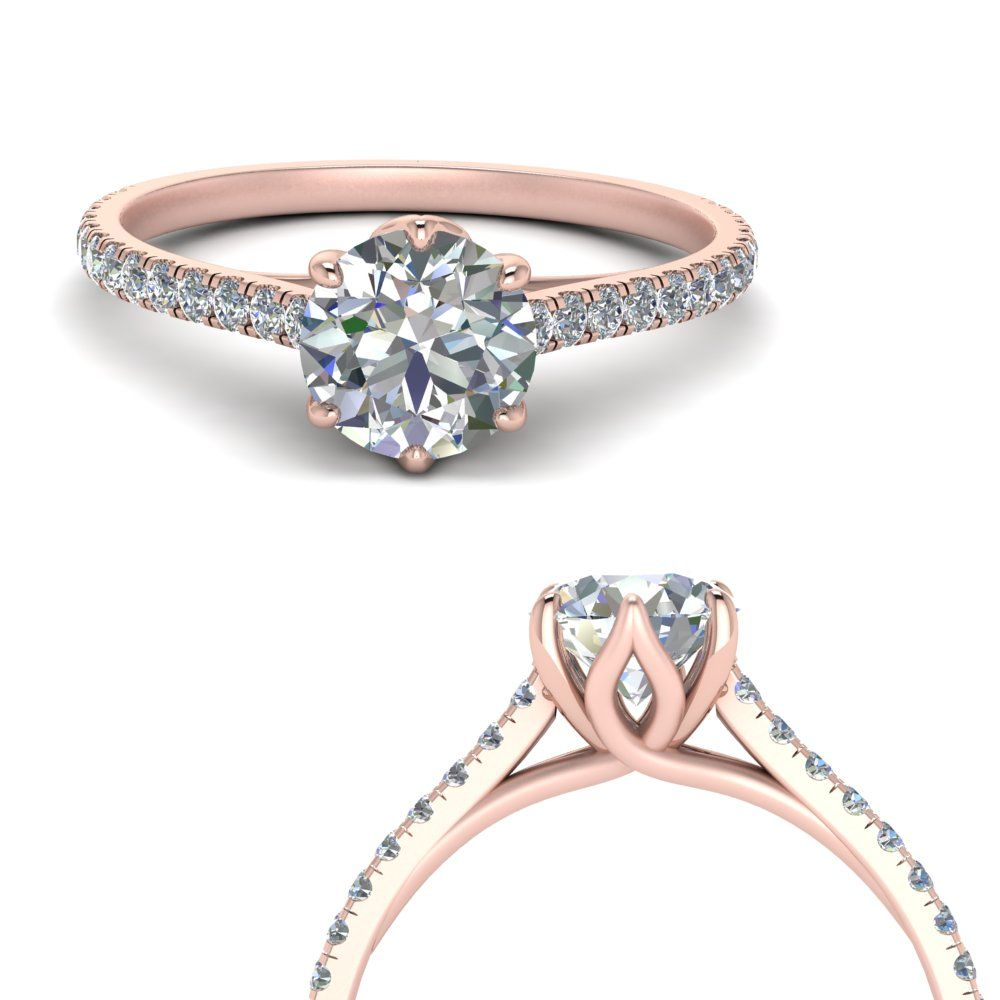 6 Claw Prong Flower Basket Diamond Engagement Ring In Rose Gold