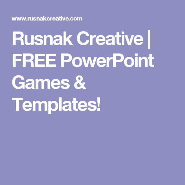 rusnak creative | free powerpoint games & templates! | school, Powerpoint templates