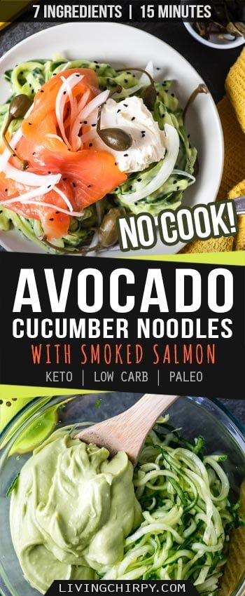 Creamy Avocado Cucumber Noodles with Smoked Salmon images