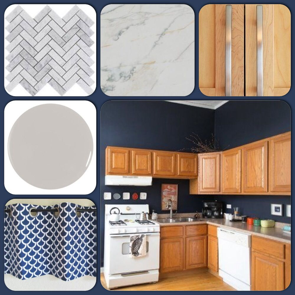 Blue Gray Kitchen Paint: Kitchen Inspiration. Honey Oak Cabinets And Hale Navy Blue