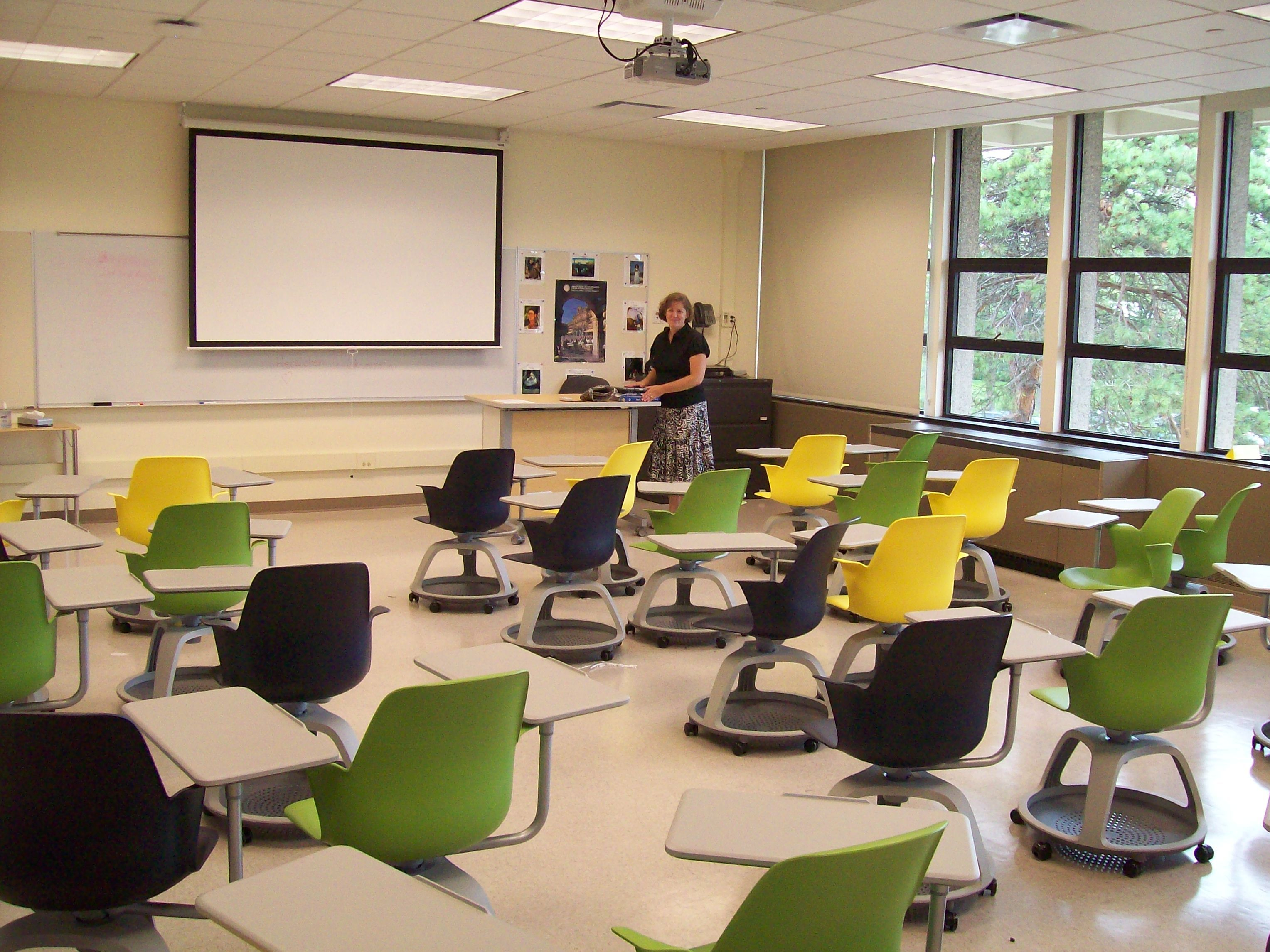 Modern University Classroom ~ Northfield campus renovation project new trier