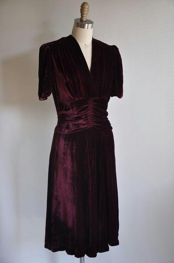 On Sale 20 Off Vintage 1930s 30s Dress Burgundy
