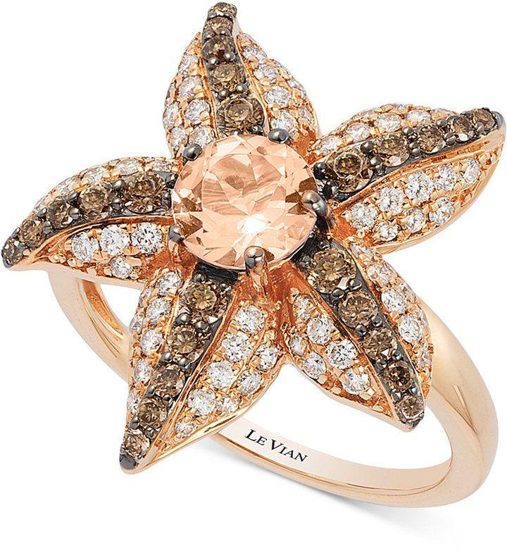 Le Vian Chocolatier® Peach Morganite (5/8 ct. t.w.) and Diamond (7/8 ct. t.w.)…