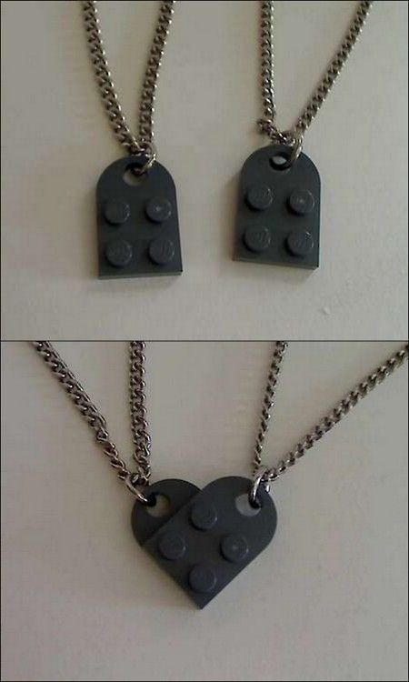 Another pinner said: Lego couple's necklace - I think I'll get these for everyone for the next deployment. Then, Daddy will have the piece that completes everyone's heart, but as long as we are together, supporting one another, no one has to be only a half heart without him. We are a family. Cheesy, but cheesy can be comforting in hard times. Also, shipping is steep but the parts are cheap!