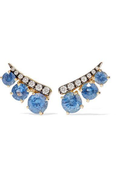 Jemma Wynne - 18-karat Gold, Sapphire And Diamond Earrings - one size