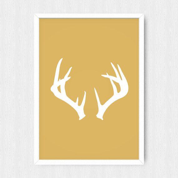 Gold Antler Print, Antler Print, Antler Wall Decor, Gold, White ...