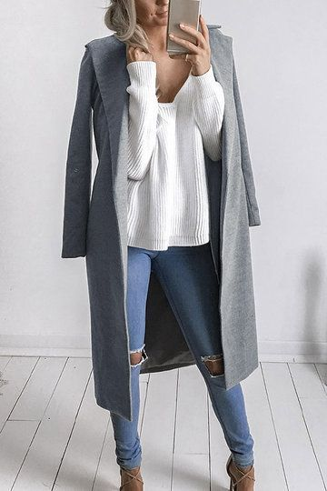 a514b3b958f7 Fashion Long Sleeves Causal Outerwear in Grey - US 35.95