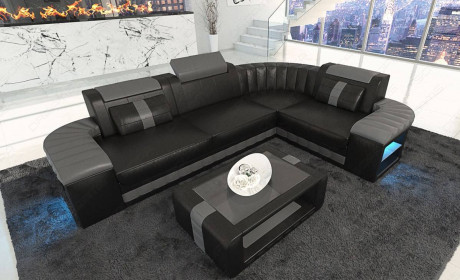 Design Leather Sofa Philadelphia L Shape With Led Lights In 2020