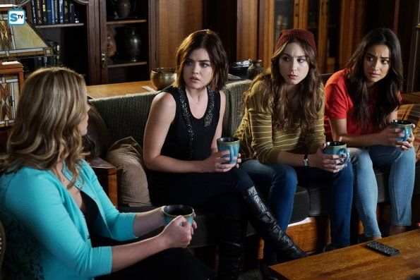 Aria Montgomery wears a Haute Hippie Muscle Tank with Beaded Snake on Pretty Little Liars