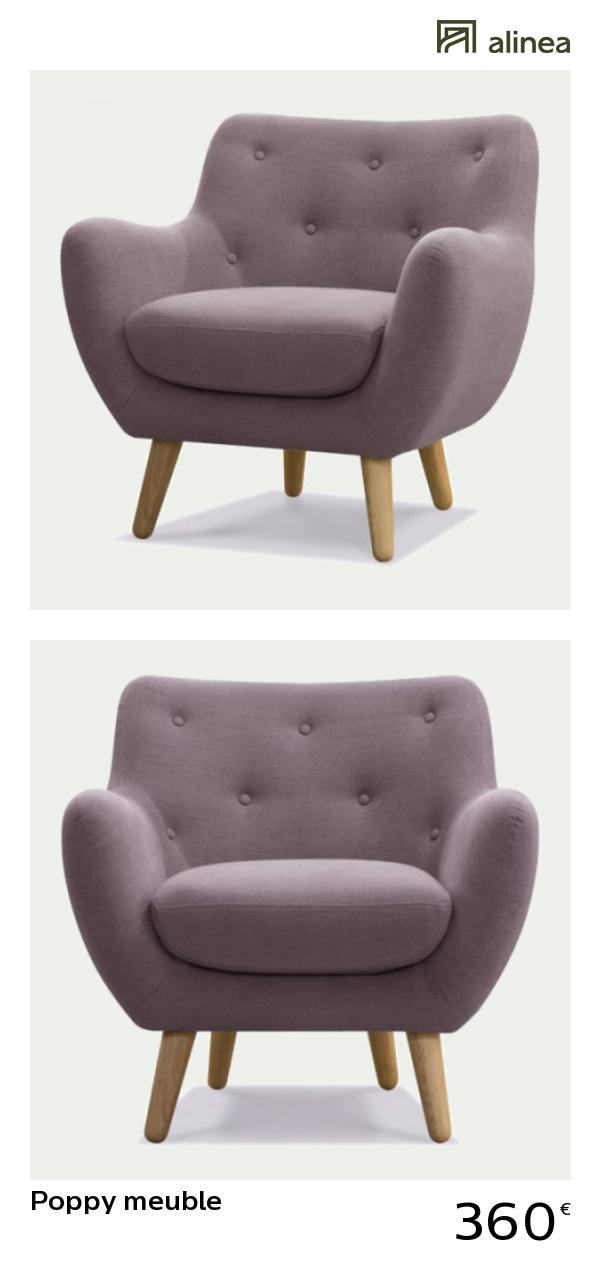 alinea poppy meuble fauteuil esprit scandinave lavande canaps fauteuils fauteuils alinea dcoration