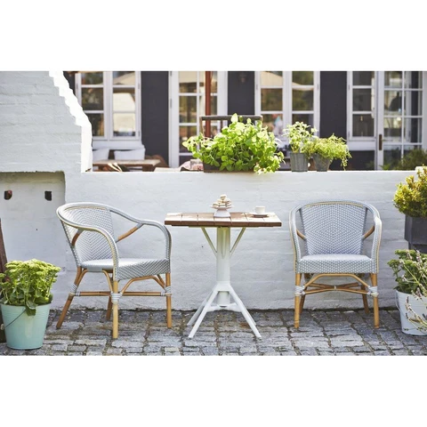 Dining Office Chairs Heaven S Gate Home Llc The Madeleine Stackable Bistro Arm Chair Is A With Images Paris Bistro Chairs Indoor Outdoor Chair Outdoor Furniture Sets