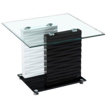 Modern Black And White Glass Rectangular End Table Sevilla White