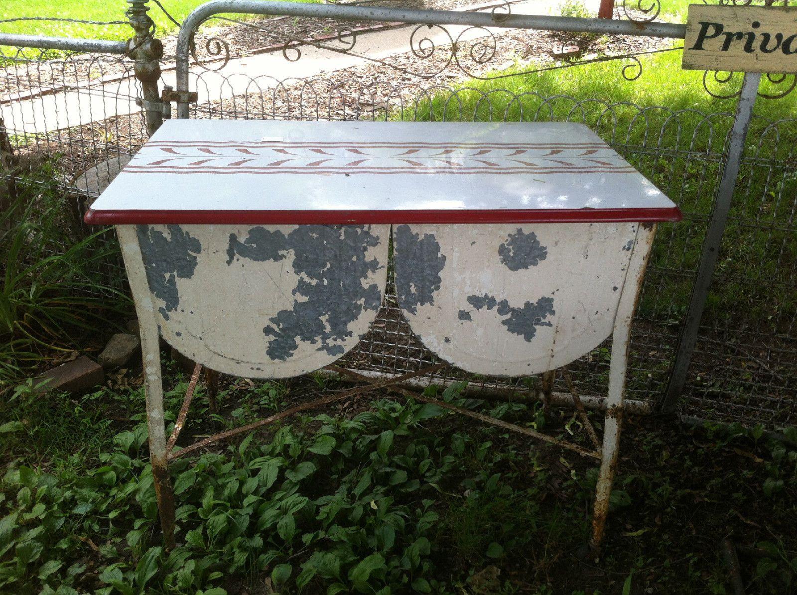 Laundry sink ebay - Vintage Celina Galvanized Double Wash Tub On Wheels With Porcelain Lid Nice