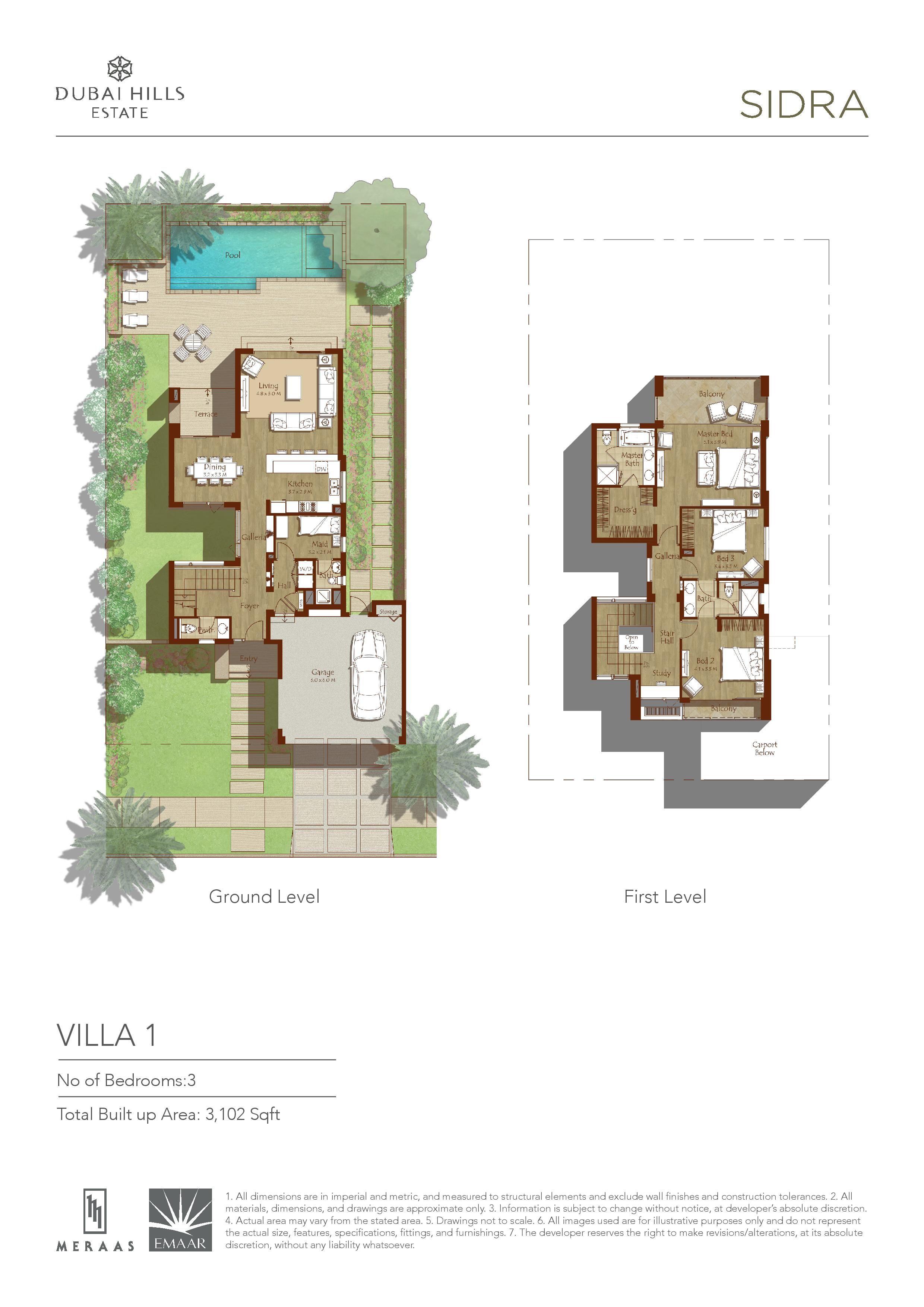 Sidra Villa FLoor Plans Dubai Hills Estates – Dubai House Floor Plans