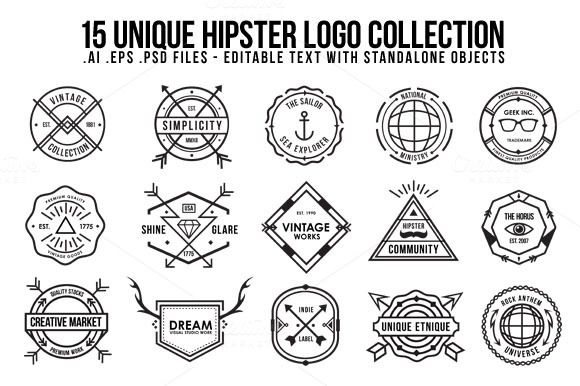 Unique Hipster Logo by ORCA Creative Store on Creative