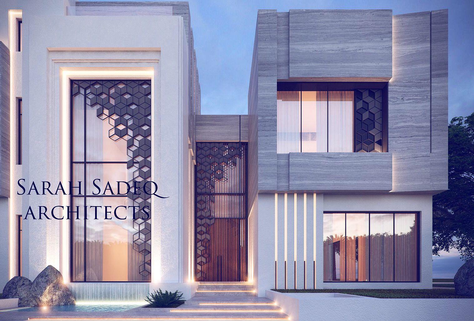 Private Villa Jumaira Dubai Sarah Sadeq Architects Exterior Design House Front Design House Designs Exterior