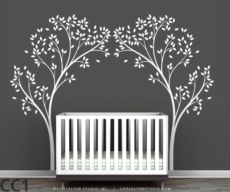 Tree Canopy Portal Wall Decal   White Tree Decal, Brown Tree, Lilac Tree