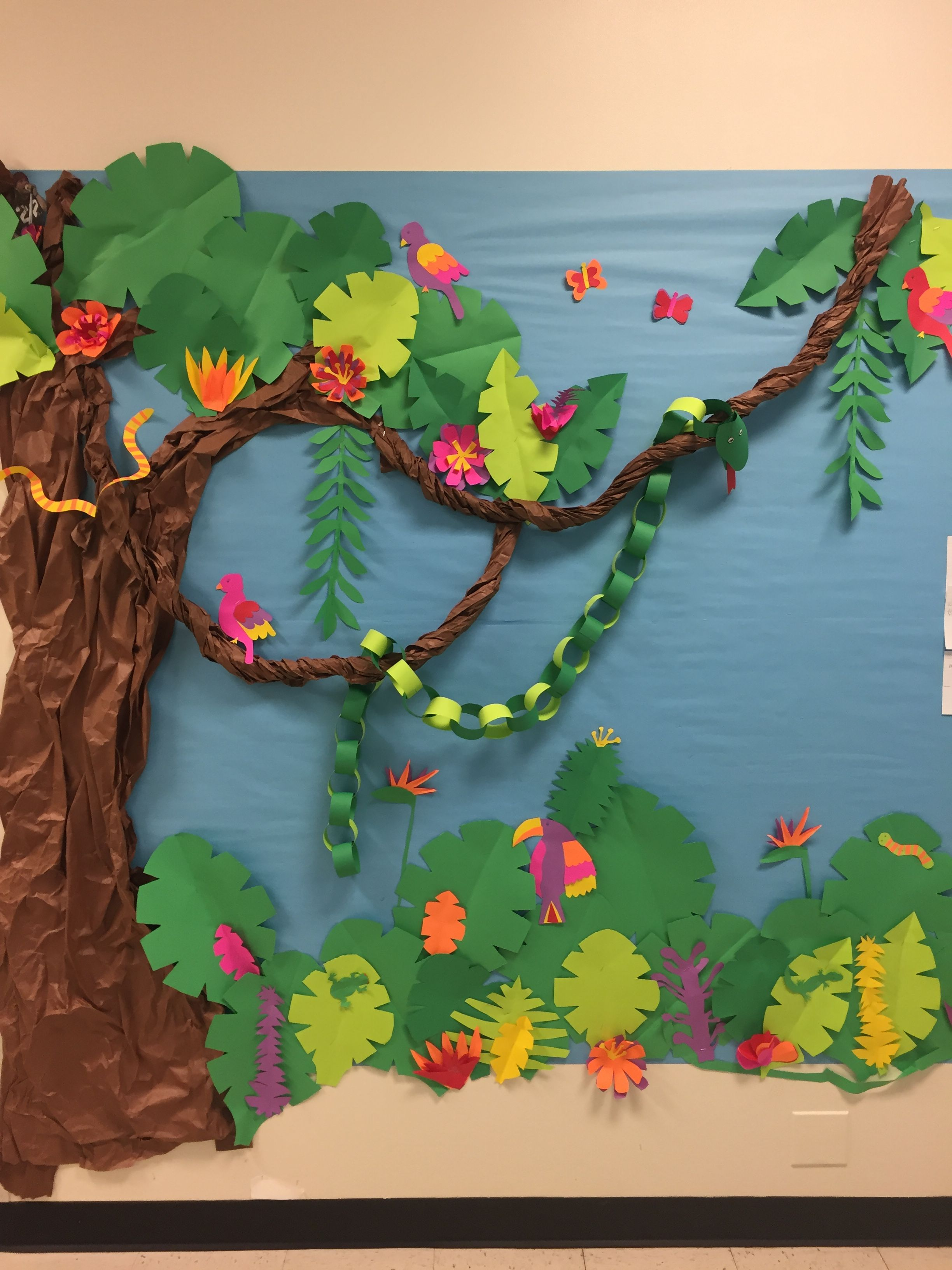 Jungle rainforest bulletin board  | kinder | Rainforest crafts