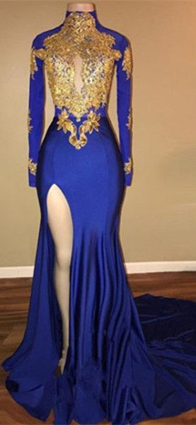 Royal Blue Long Sleeve Gold Appliques Mermaid Prom Dress With Slit ...