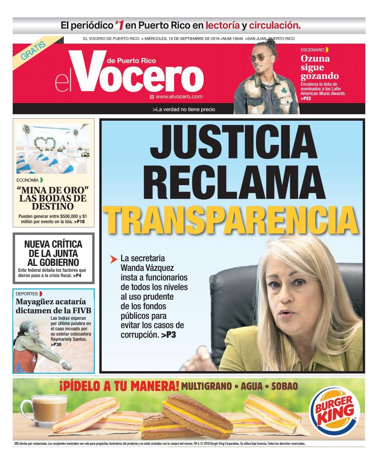 Edición Del 19 De Septiembre De 2018 Puerto Rico 19 De Septiembre Septiembre