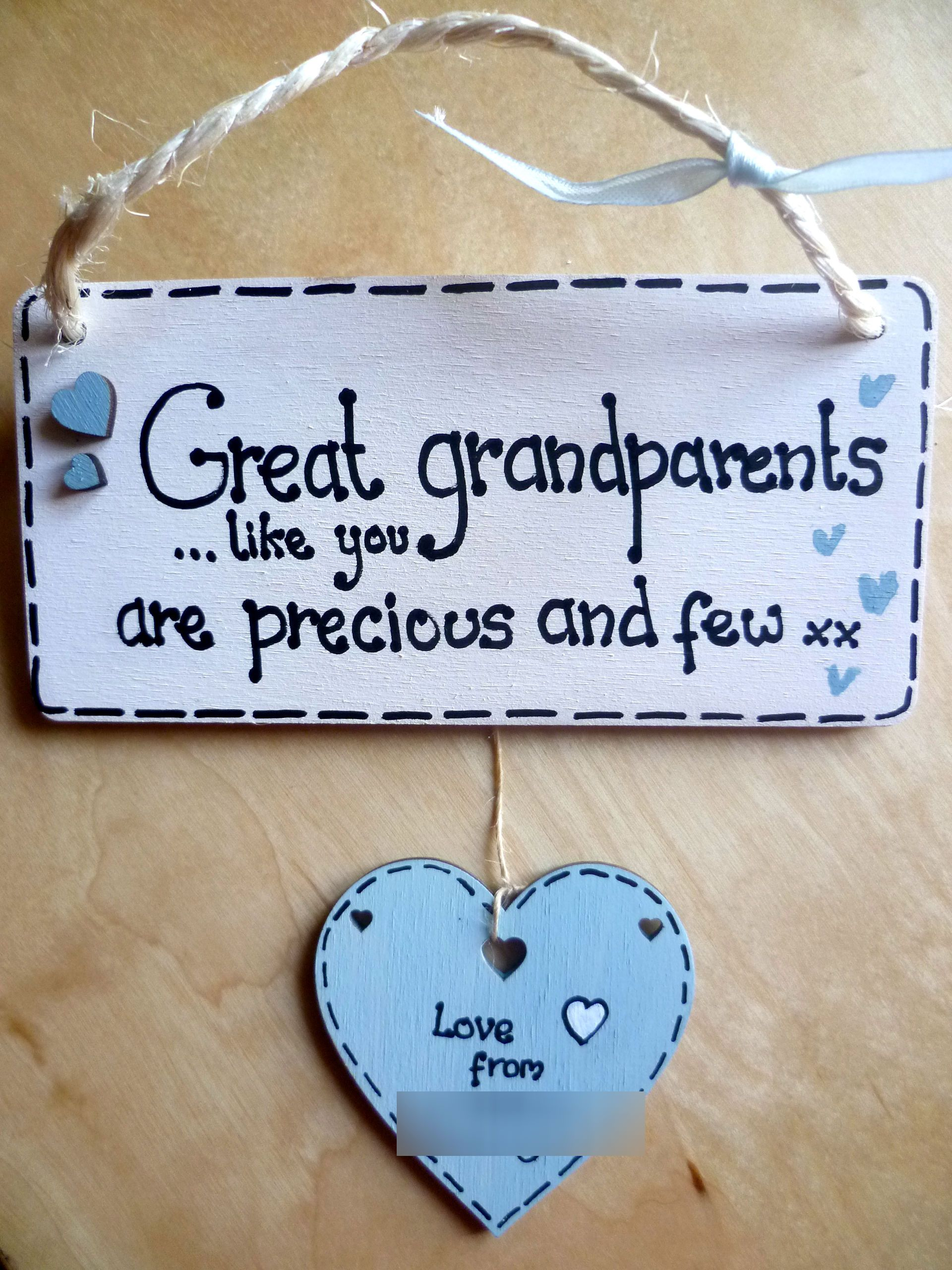Blue Great Grandparents Grandparents Hand Painted Wooden Sign Plaque Present