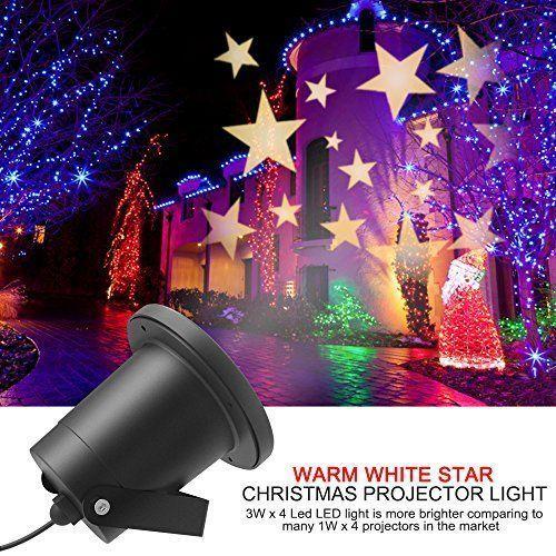 Aliensx Christmas Light Stars Projector IP65 Waterproof Warm White