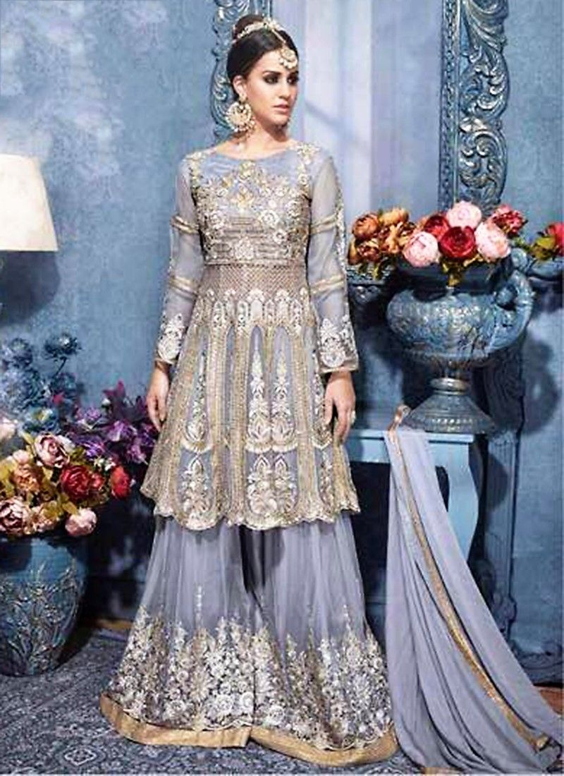 Grey Net Koti Style Palazzo Suit Sharara Designs Pakistani Dresses Designer Dresses