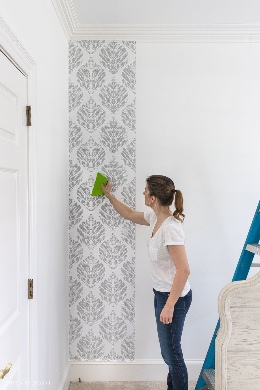 Peel Stick Wallpaper How My First Project With It Turned Out Your Questions Answered Driven By Decor Driven By Decor Peel And Stick Wallpaper White Woven Baskets