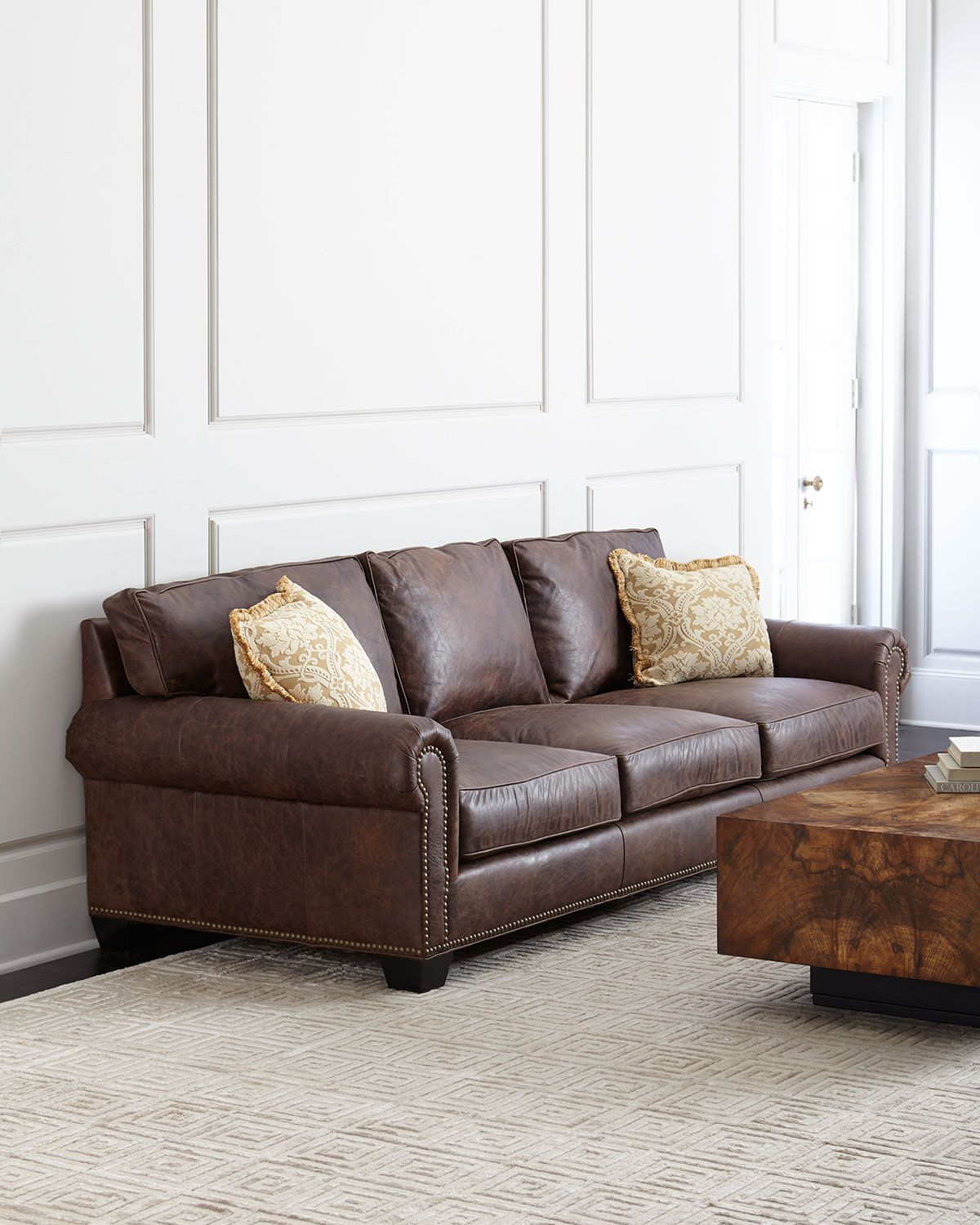 Massey Leather Sofa Brown Leather  Neiman Marcus  *furniture Interesting Brown Sofas In Living Rooms Decorating Design