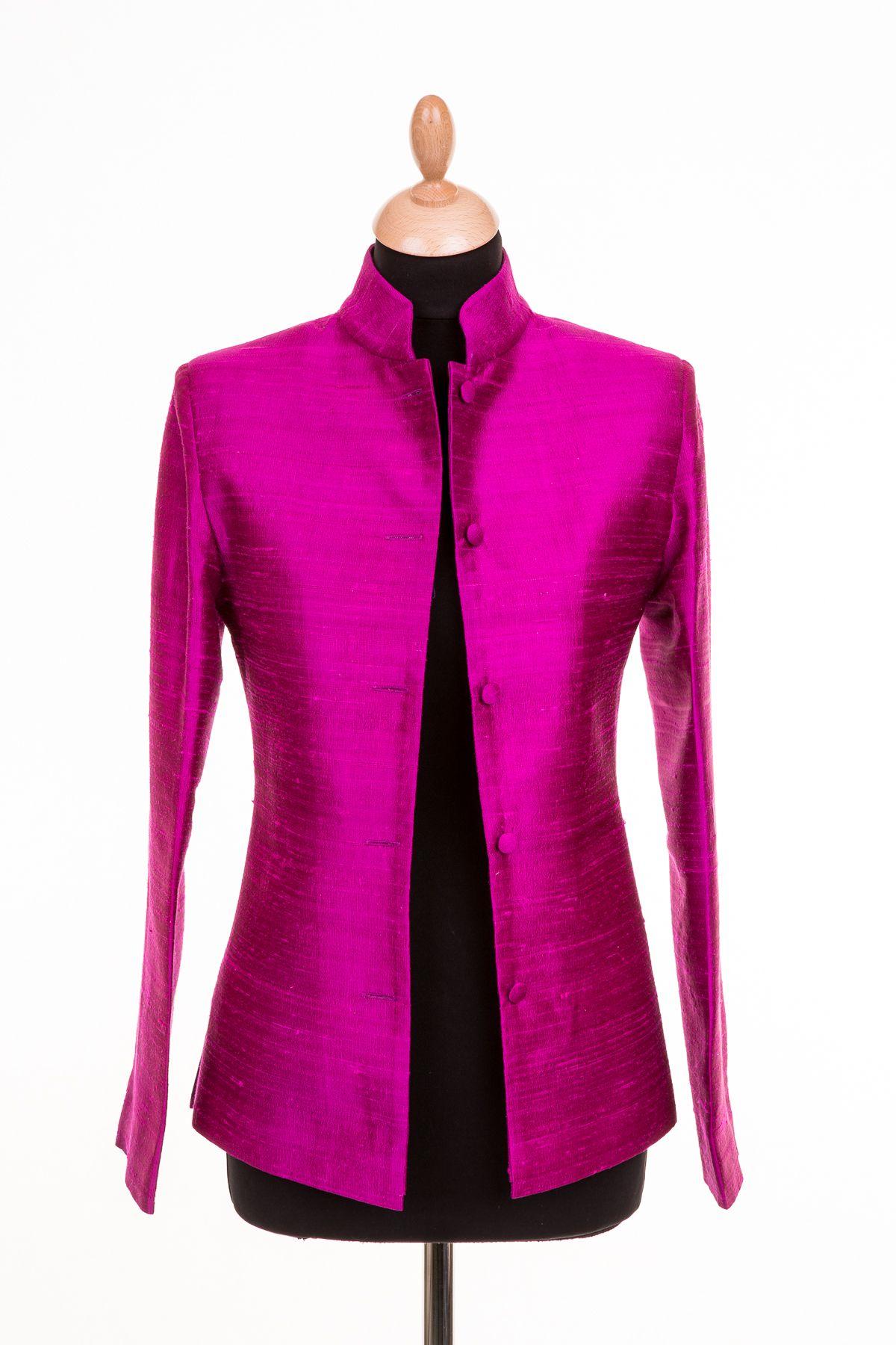 Short Nehru Jacket in Wild Orchid, Price £265.00 Jackets