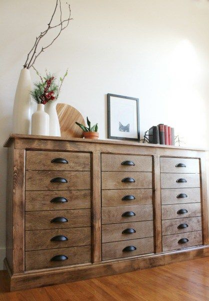 Free Building Plans And Tutorial To Build This Modern Farmhouse DIY Faux Drawer Dresser Cabinet With