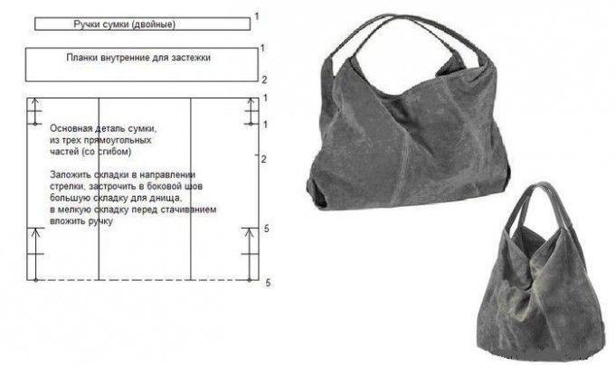 Пошив сумки из кожи своими руками - серая кожаная сумка