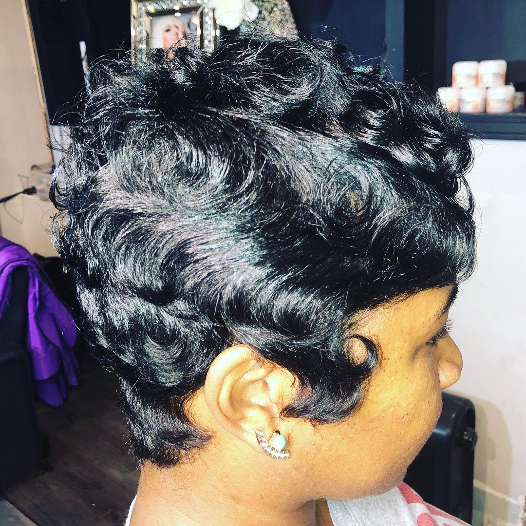 short hairstyle for black women soft waves, soft finger