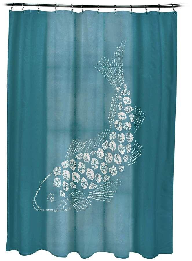 E By Design Fish Pool Shower Curtain Aquariums Fish