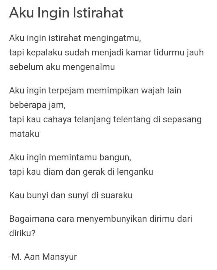 Puisi Pendek Kumpulan Puisi Sajak Cinta Puisi By M Aan Mansyur