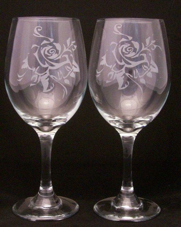2 Rose Etched Wine Glasses Valentine wine glasses, valentine gift, wedding gift. $24.99, via Etsy.