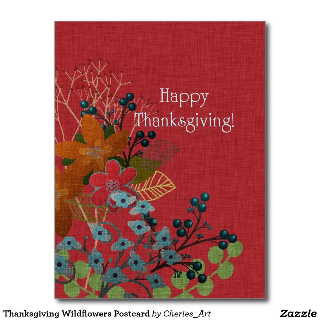 Thanksgiving Wildflowers Postcard