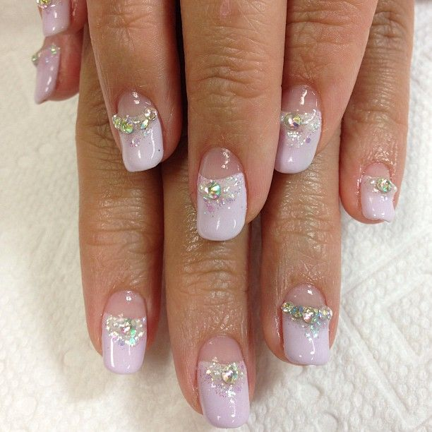 Wedding Gel Nail Designs Lavender French Nails With Glitter And Aurora Swarovski Rhinestone Sparkly Wedding Gel Nails Gel Nail Designs Gel Nail Art Designs