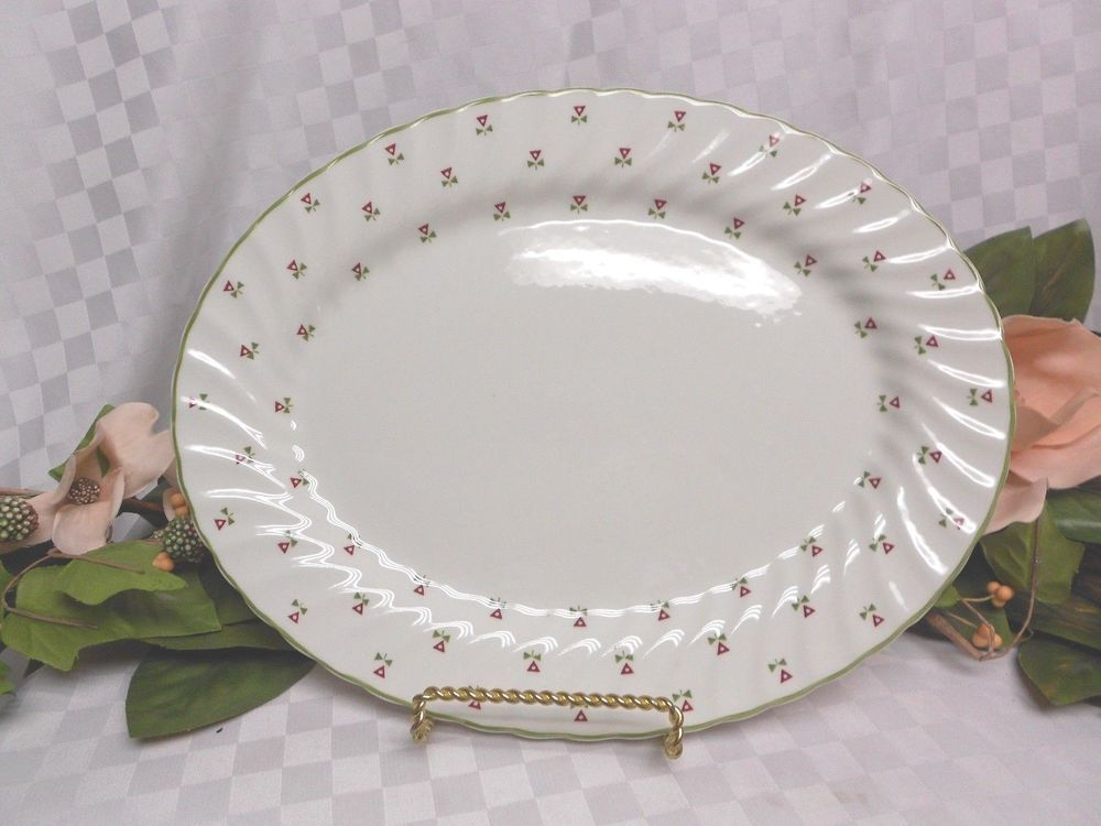 Johnson Brothers China dinnerware Thistle Red & green 1 oval serving platter  #Thistle #JohnsonBrothers