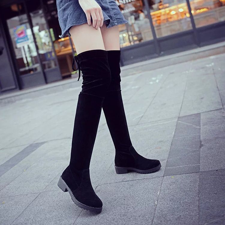 7b0f0f173e EFFGT Women shoes New Over The Knee Thigh High Black Boots Women Motorcycle  Flats Long Boots