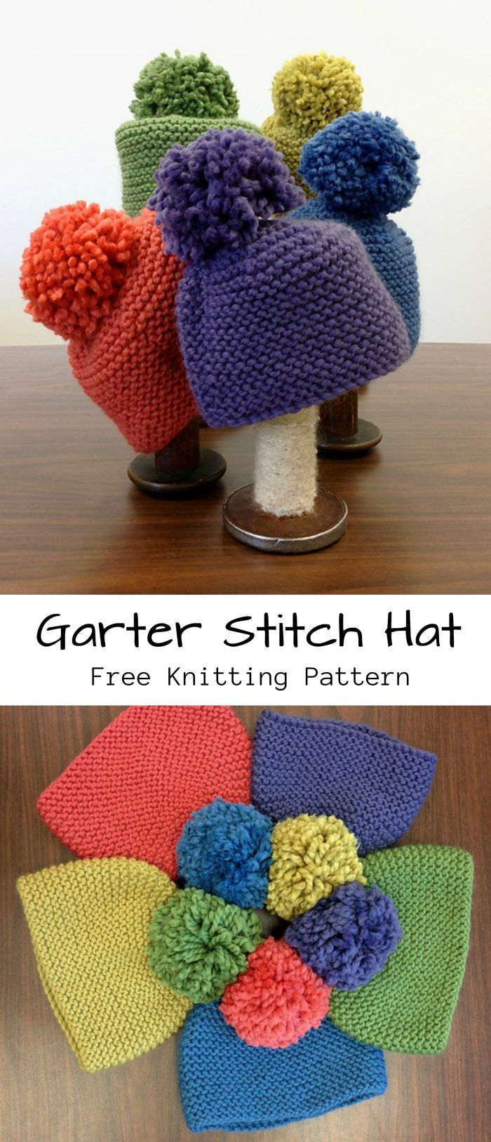 Garter Stitch Hat Free Knitting Pattern Knit Pinterest