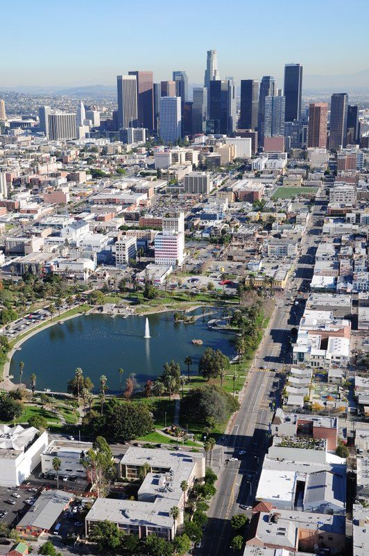 That S Macarthur Park And Downtown Los Angeles In A Photo Taken During One Of Our Private Helicopter Tours Our Elite Los Angeles Parks Los Angeles Tours Tours