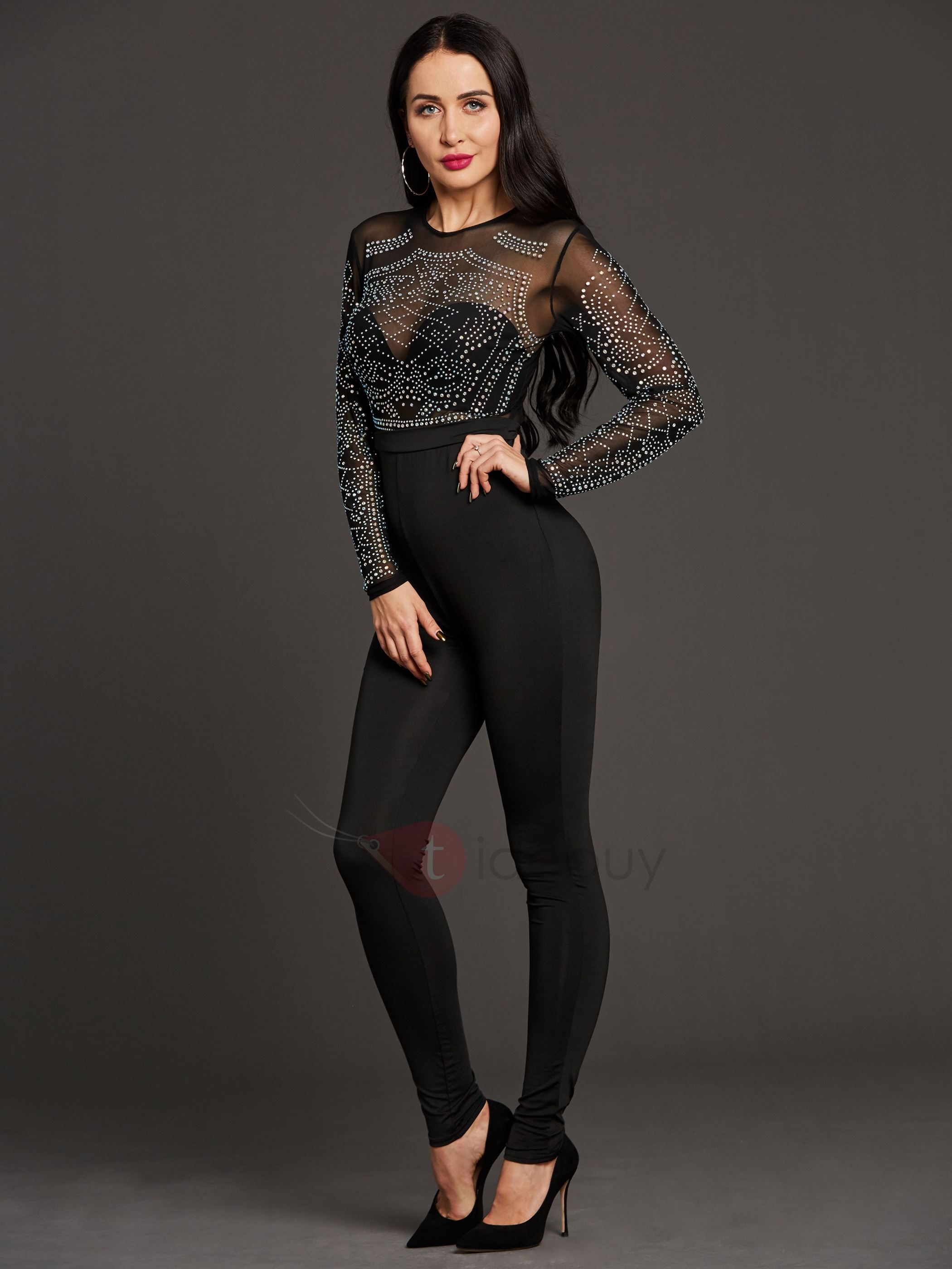 1044ec45477 Womens Jumpsuits · Black Jumpsuit Outfit · Clubwear · Solid Color Bead  Decorated Zipper Long Sleeve Jumpsuit   jumpsuit  elegant jumpsuit  bodycon  jumpsuit