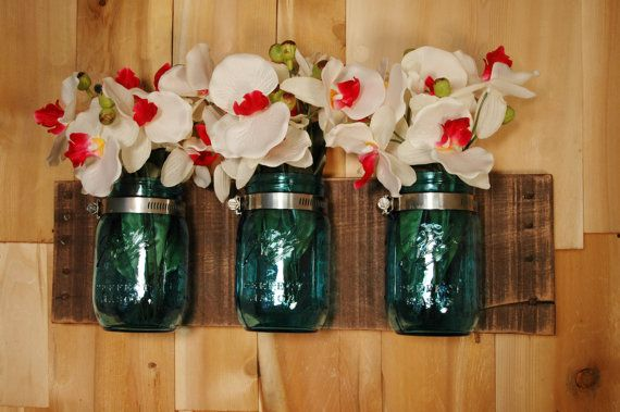 Anniversary Edition Blue Mason Jars on single stained or whitewashed wood board rustic wall decor