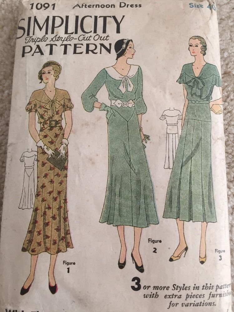 Vintage Sewing Pattern Afternoon Dress Sz 40 Simplicity 1920 S Antique Complete Afternoon Dress Clothes Fashion
